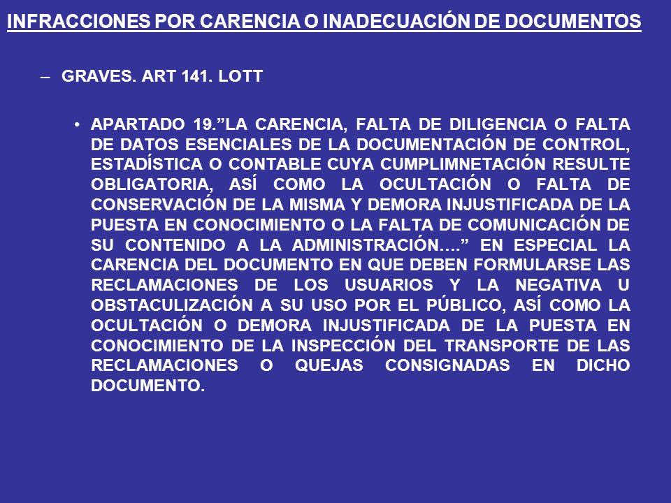 INFRACCIONES POR CARENCIA O INADECUACIÓN DE DOCUMENTOS –GRAVES.
