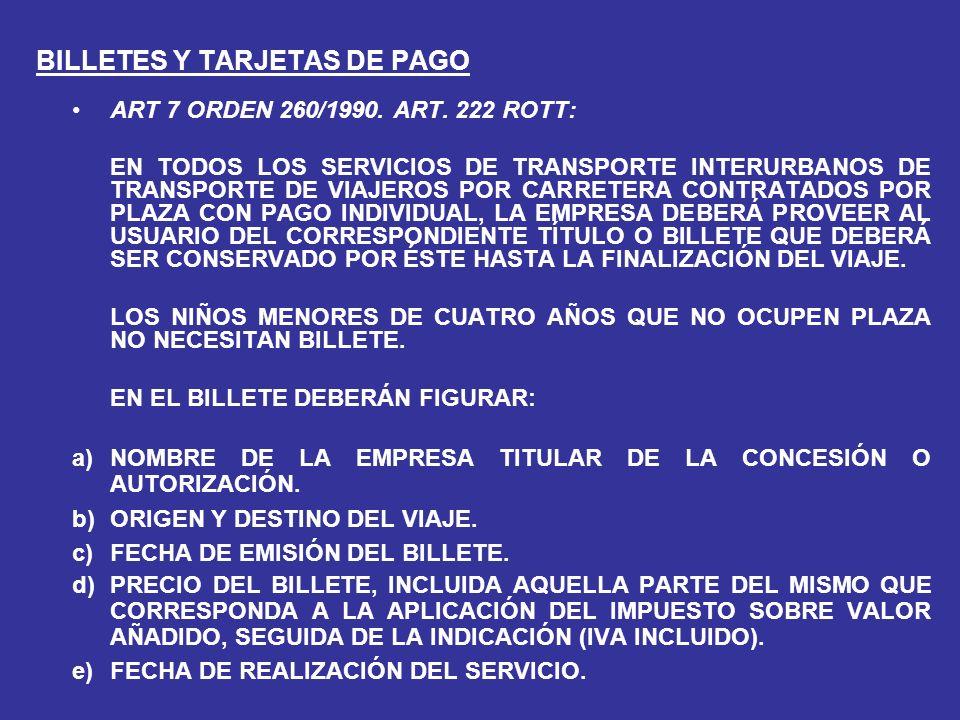 BILLETES Y TARJETAS DE PAGO ART 7 ORDEN 260/1990.ART.