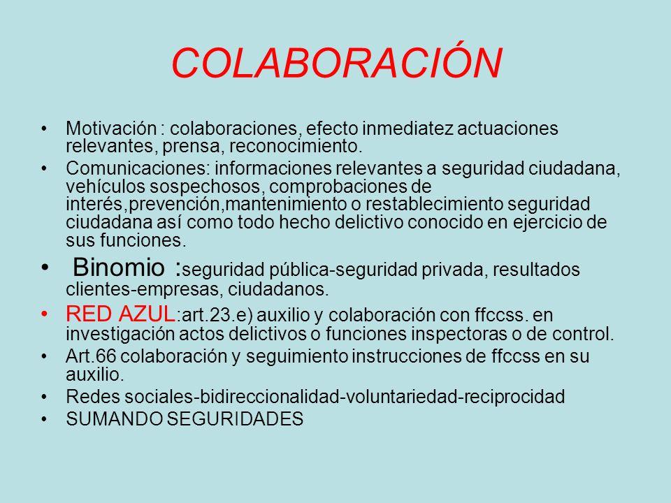 COLABORACIÓN Motivación : colaboraciones, efecto inmediatez actuaciones relevantes, prensa, reconocimiento. Comunicaciones: informaciones relevantes a