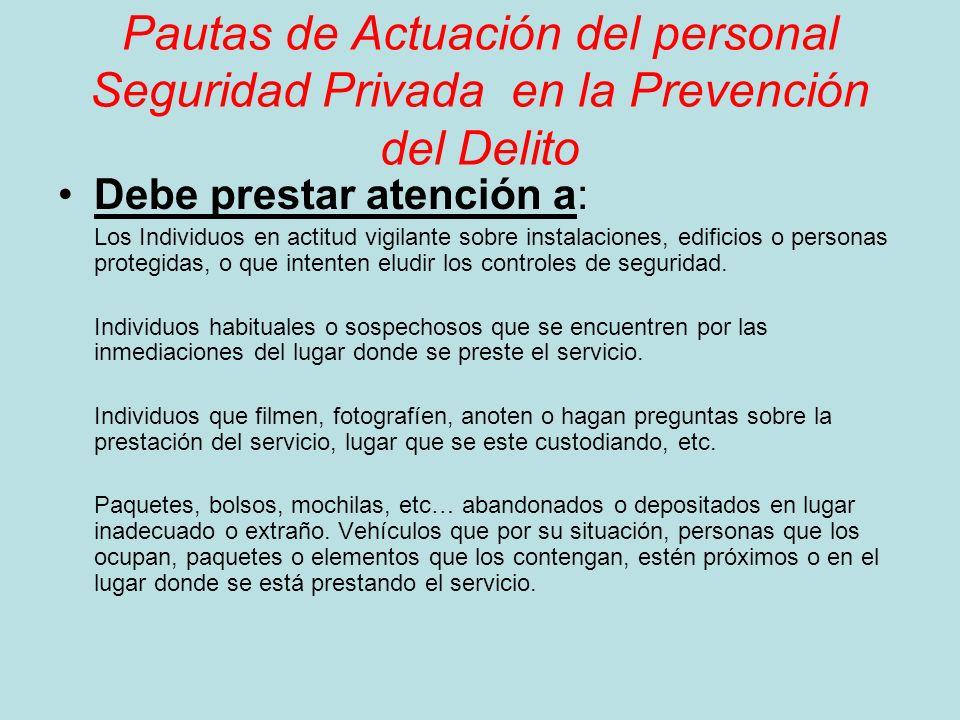Pautas de Actuación del personal Seguridad Privada en la Prevención del Delito Debe prestar atención a: Los Individuos en actitud vigilante sobre inst