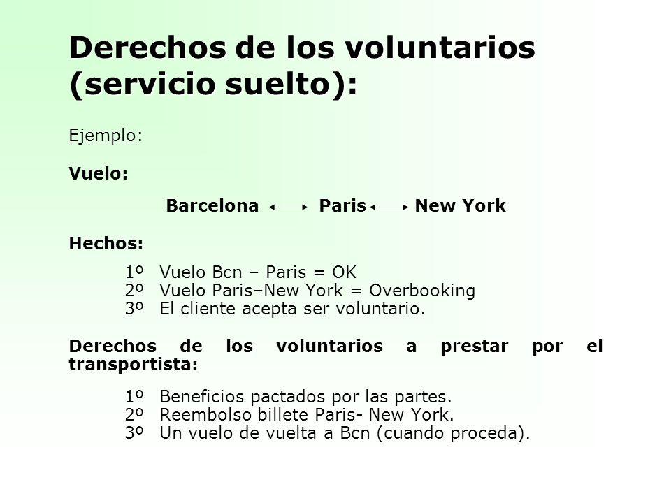 Derechos de los voluntarios (servicio suelto): Ejemplo: Vuelo: Barcelona Paris New York Hechos: 1ºVuelo Bcn – Paris = OK 2ºVuelo Paris–New York = Overbooking 3ºEl cliente acepta ser voluntario.