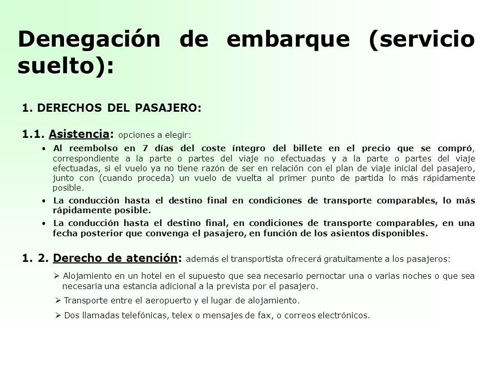 Denegación de embarque (servicio suelto): 1. DERECHOS DEL PASAJERO: 1.1. Asistencia: opciones a elegir: Al reembolso en 7 días del coste íntegro del b