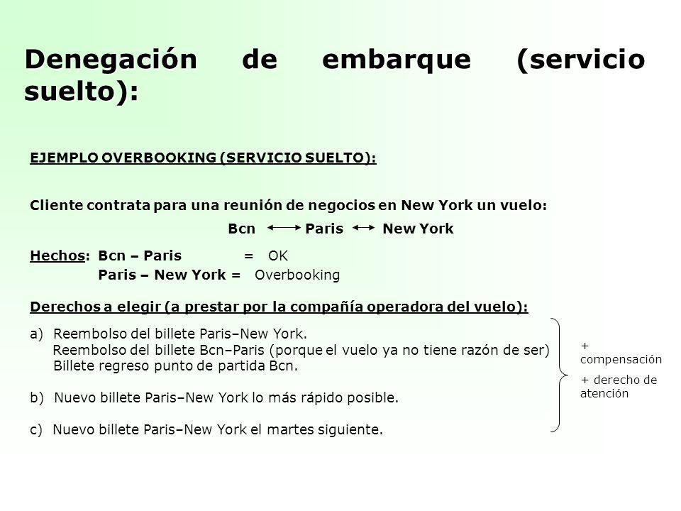 Denegación de embarque (servicio suelto): EJEMPLO OVERBOOKING (SERVICIO SUELTO): Cliente contrata para una reunión de negocios en New York un vuelo: B