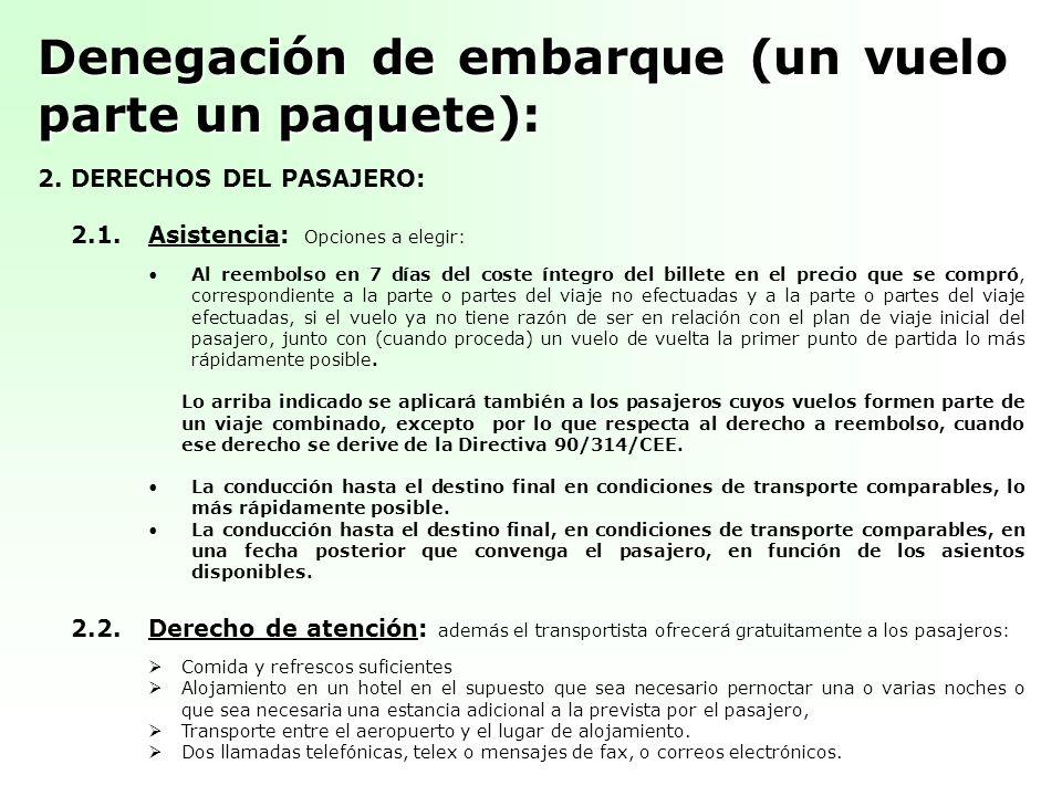 Denegación de embarque (un vuelo parte un paquete): 2. DERECHOS DEL PASAJERO: 2.1.Asistencia: Opciones a elegir: Al reembolso en 7 días del coste ínte