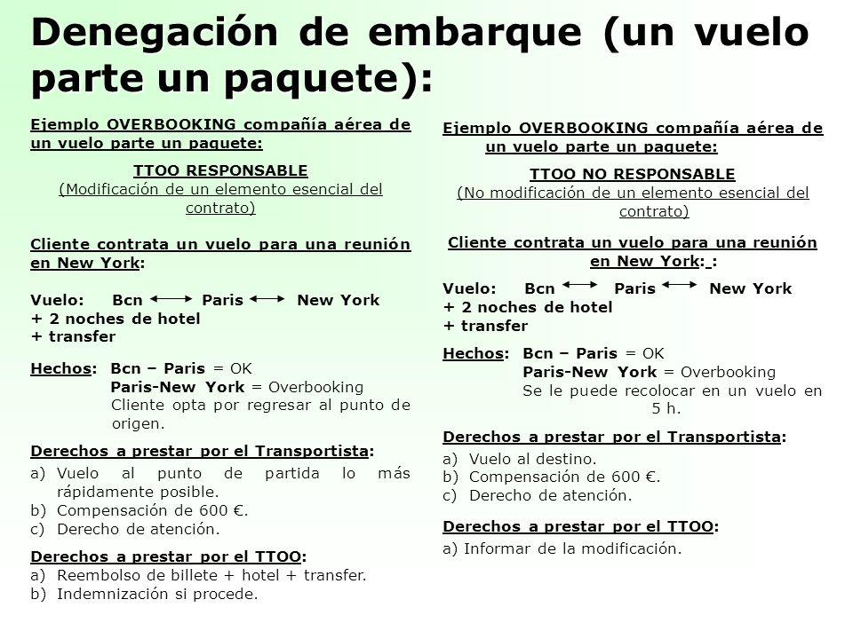 Denegación de embarque (un vuelo parte un paquete): Ejemplo OVERBOOKING compañía aérea de un vuelo parte un paquete: TTOO RESPONSABLE (Modificación de