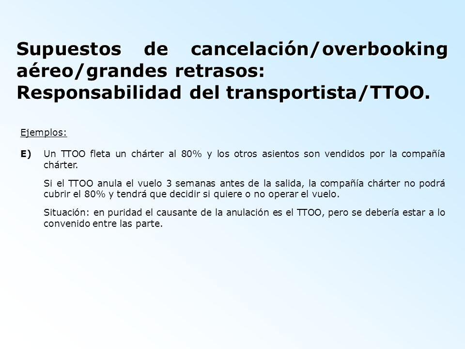 Supuestos de cancelación/overbooking aéreo/grandes retrasos: Responsabilidad del transportista/TTOO. Ejemplos: E)Un TTOO fleta un chárter al 80% y los