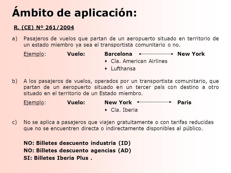 Ámbito de aplicación: R. (CE) Nº 261/2004 a)Pasajeros de vuelos que partan de un aeropuerto situado en territorio de un estado miembro ya sea el trans