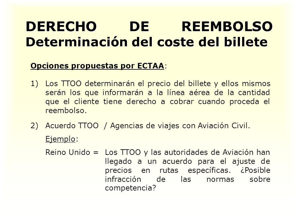 DERECHO DE REEMBOLSO Determinación del coste del billete Opciones propuestas por ECTAA: 1) 1)Los TTOO determinarán el precio del billete y ellos mismos serán los que informarán a la línea aérea de la cantidad que el cliente tiene derecho a cobrar cuando proceda el reembolso.
