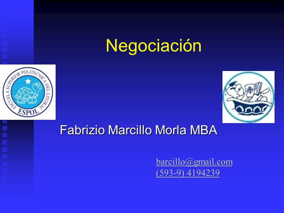 Negociación Fabrizio Marcillo Morla MBA barcillo@gmail.com (593-9) 4194239 (593-9) 4194239
