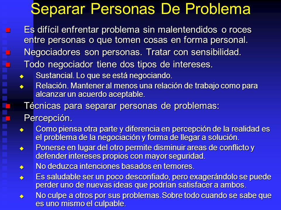 Separar Personas De Problema Es difícil enfrentar problema sin malentendidos o roces entre personas o que tomen cosas en forma personal.