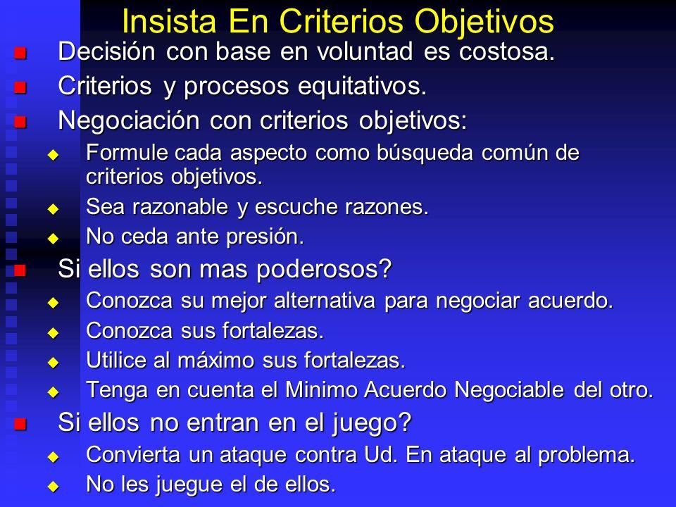 Insista En Criterios Objetivos Decisión con base en voluntad es costosa.