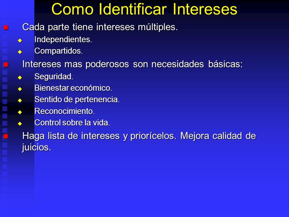 Como Identificar Intereses Cada parte tiene intereses múltiples.