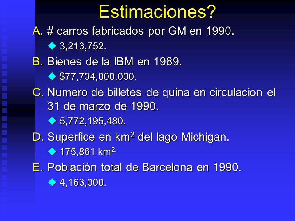 Estimaciones.A.# carros fabricados por GM en 1990.