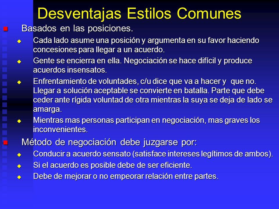 Desventajas Estilos Comunes Basados en las posiciones.