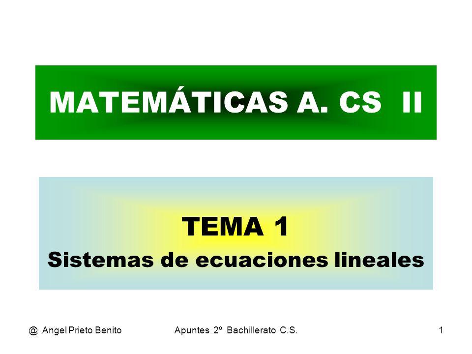@ Angel Prieto BenitoApuntes 2º Bachillerato C.S.12 PROBLEMA_4 Teníamos el sistema: x + y + z = 80 0,75.x + 0,60.y + 0,45.z = 39,75 0,75.x + 0,75.y – 0,25.z = 0 Operando mediante Gauss: F2 – 0,75.F1 y F3 – 0,75.F1 x + y + z = 80 – 0,15.y – 0,30.z = – 20,25 – z = – 60 Resolviendo: z = 60 viajeros estudiantes.