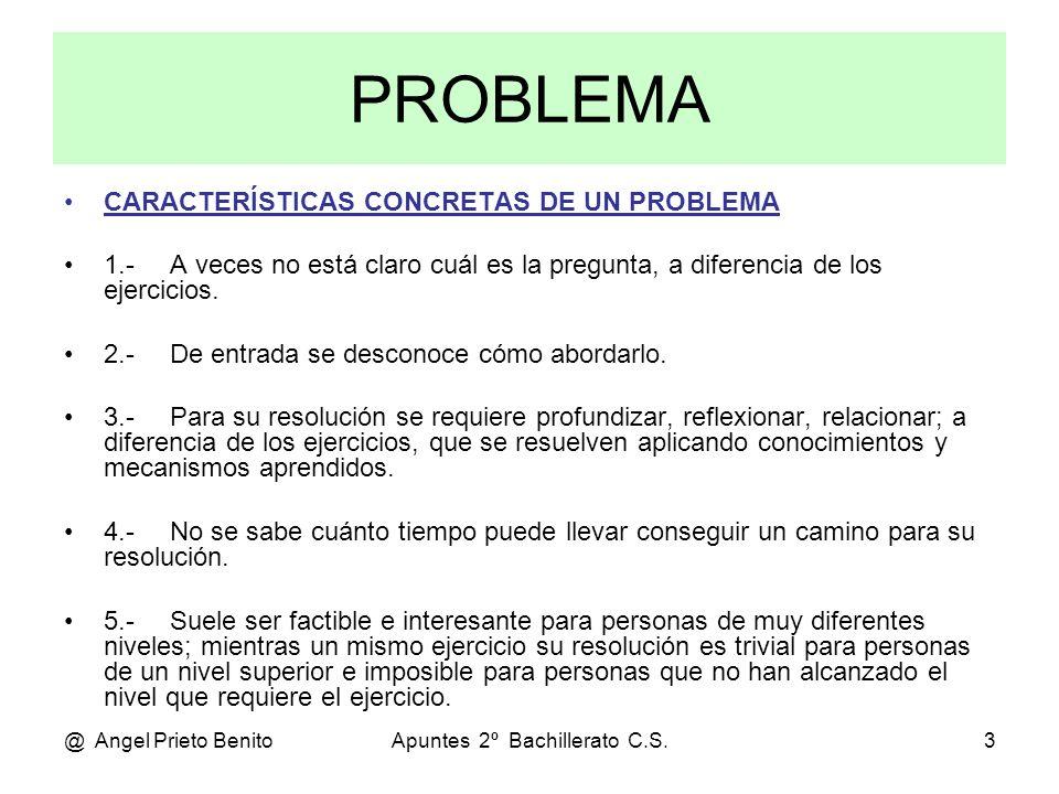 @ Angel Prieto BenitoApuntes 2º Bachillerato C.S.4 CONSEJOS PARA LA RESOLUCIÓN DE PROBLEMAS 1.- Entiende bien todos los términos del problema, asegurándote que comprendes cada dato, cada frase, … 2.- Concéntrate al máximo, ya que resolver un problema es una actividad mental compleja.
