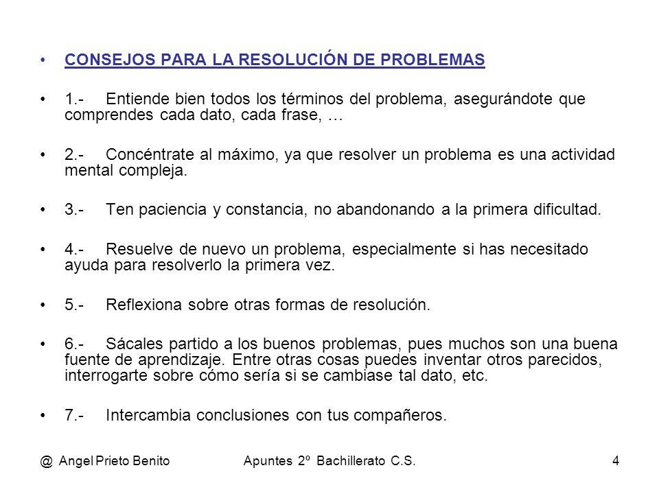 @ Angel Prieto BenitoApuntes 2º Bachillerato C.S.4 CONSEJOS PARA LA RESOLUCIÓN DE PROBLEMAS 1.- Entiende bien todos los términos del problema, asegurá