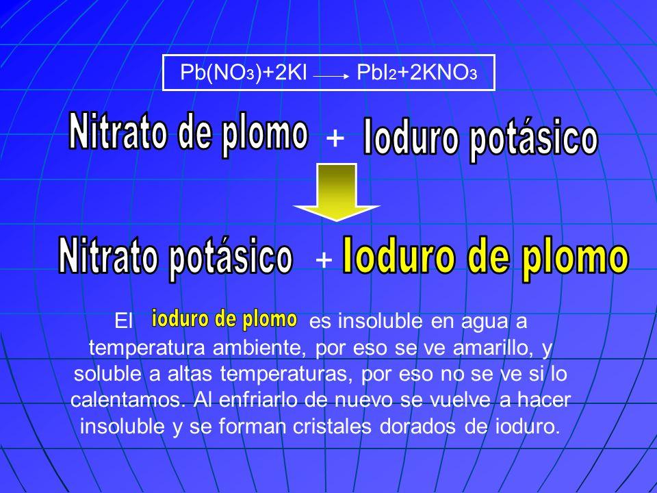 Pb(NO 3 )+2KI PbI 2 +2KNO 3 + + El es insoluble en agua a temperatura ambiente, por eso se ve amarillo, y soluble a altas temperaturas, por eso no se