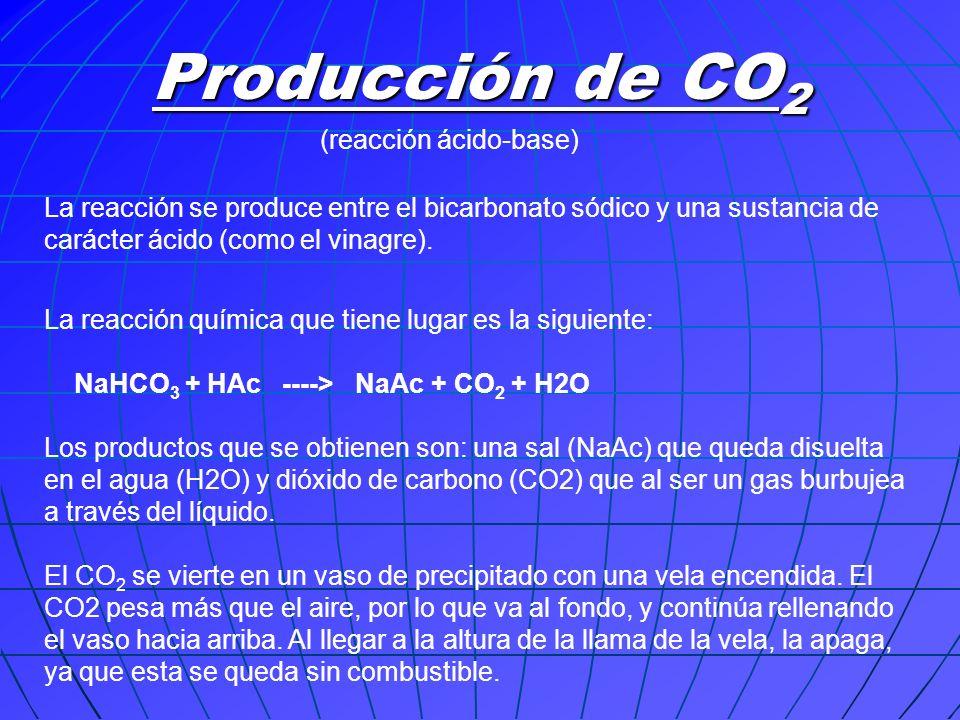 La reacción se produce entre el bicarbonato sódico y una sustancia de carácter ácido (como el vinagre). La reacción química que tiene lugar es la sigu