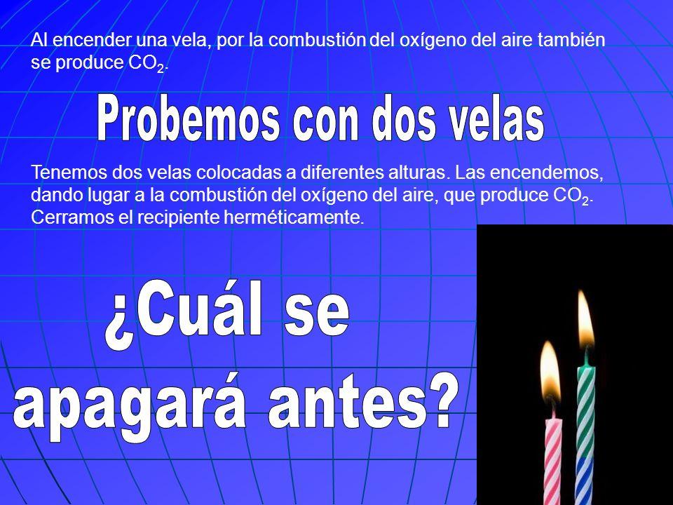 Al encender una vela, por la combustión del oxígeno del aire también se produce CO 2. Tenemos dos velas colocadas a diferentes alturas. Las encendemos