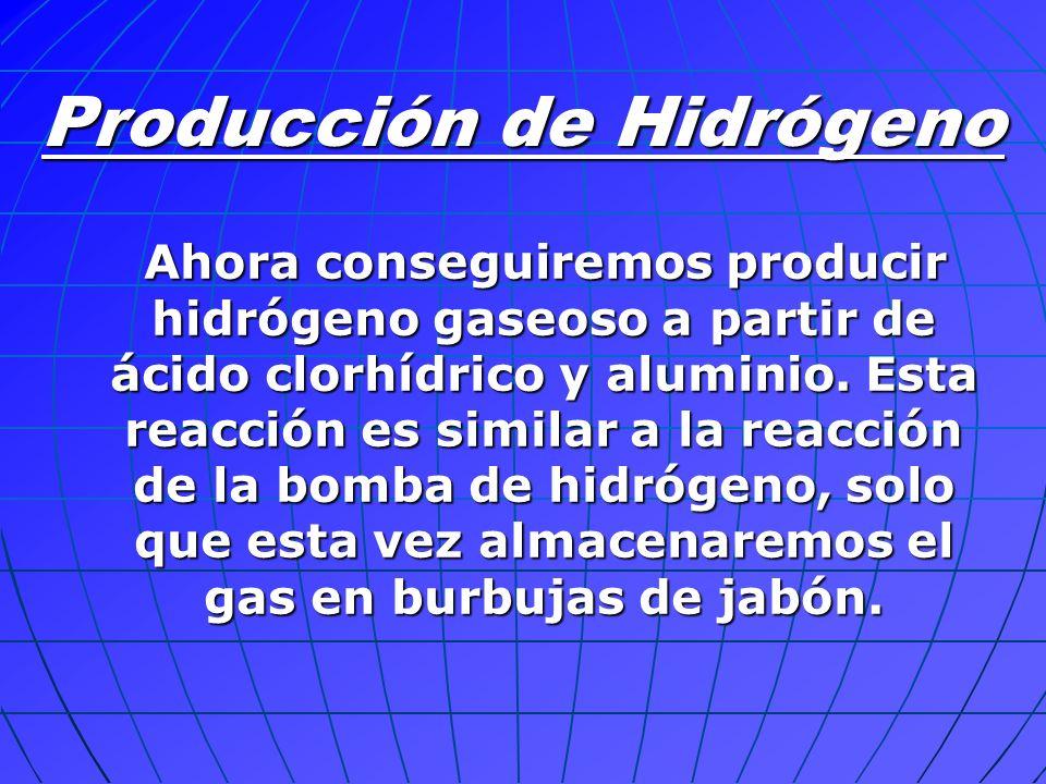 Ahora conseguiremos producir hidrógeno gaseoso a partir de ácido clorhídrico y aluminio. Esta reacción es similar a la reacción de la bomba de hidróge