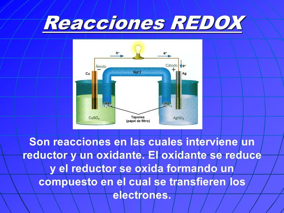 Reacciones REDOX Son reacciones en las cuales interviene un reductor y un oxidante. El oxidante se reduce y el reductor se oxida formando un compuesto