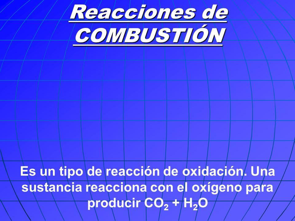 Reacciones de COMBUSTIÓN Es un tipo de reacción de oxidación. Una sustancia reacciona con el oxígeno para producir CO 2 + H 2 O