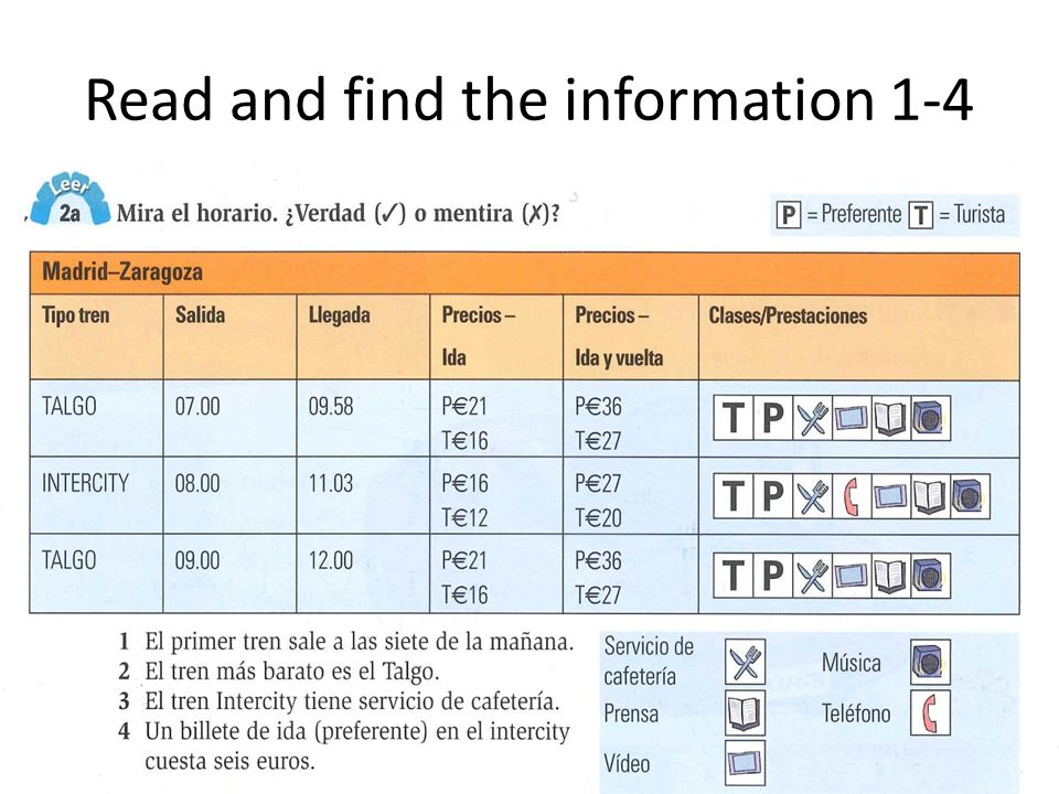 Read and find the information 1-4