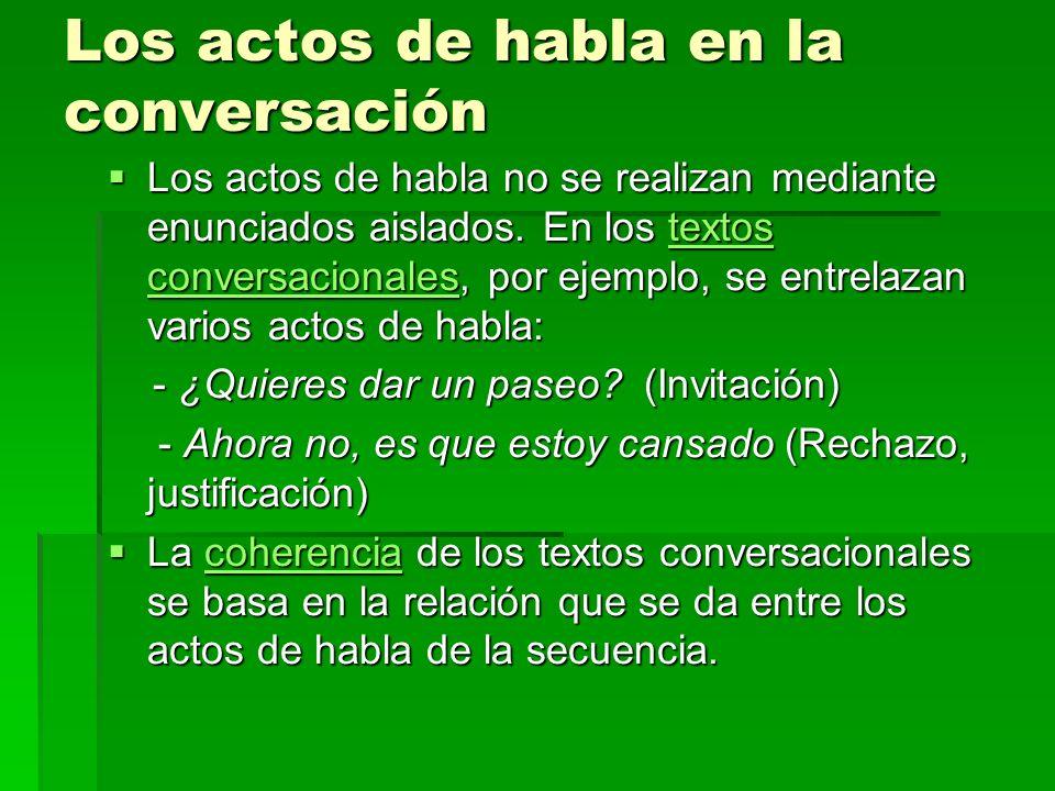 Los actos de habla en la conversación Los actos de habla no se realizan mediante enunciados aislados.