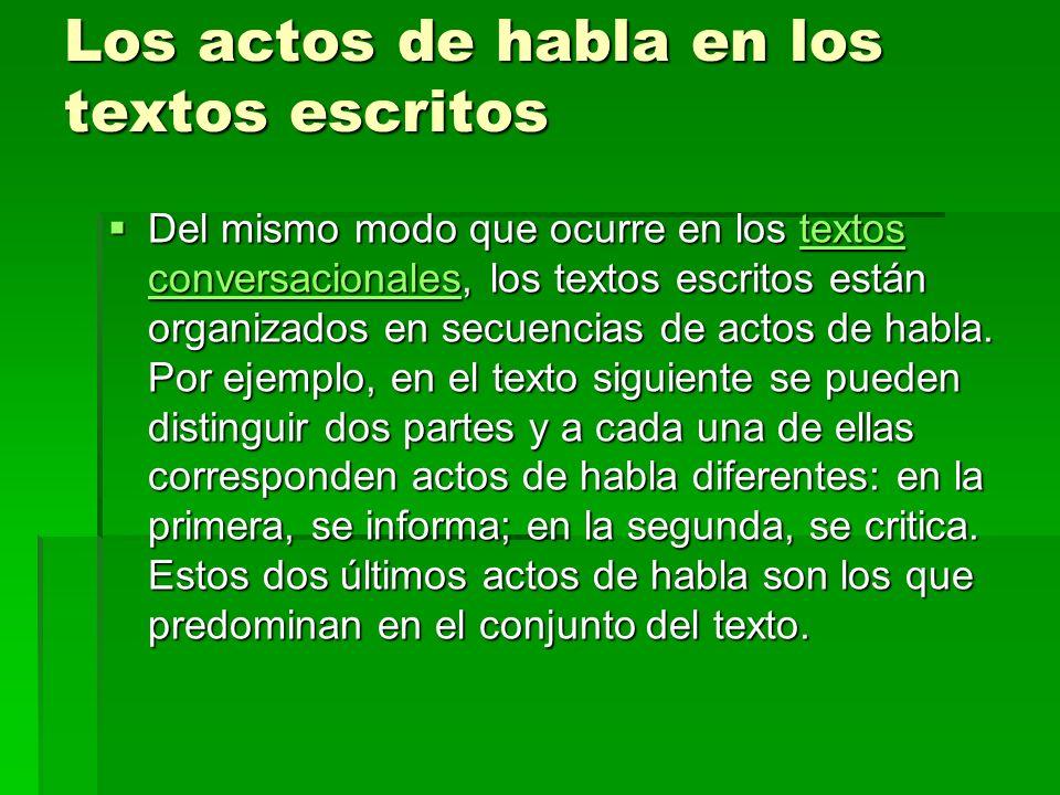 Los actos de habla en los textos escritos Del mismo modo que ocurre en los textos conversacionales, los textos escritos están organizados en secuencias de actos de habla.