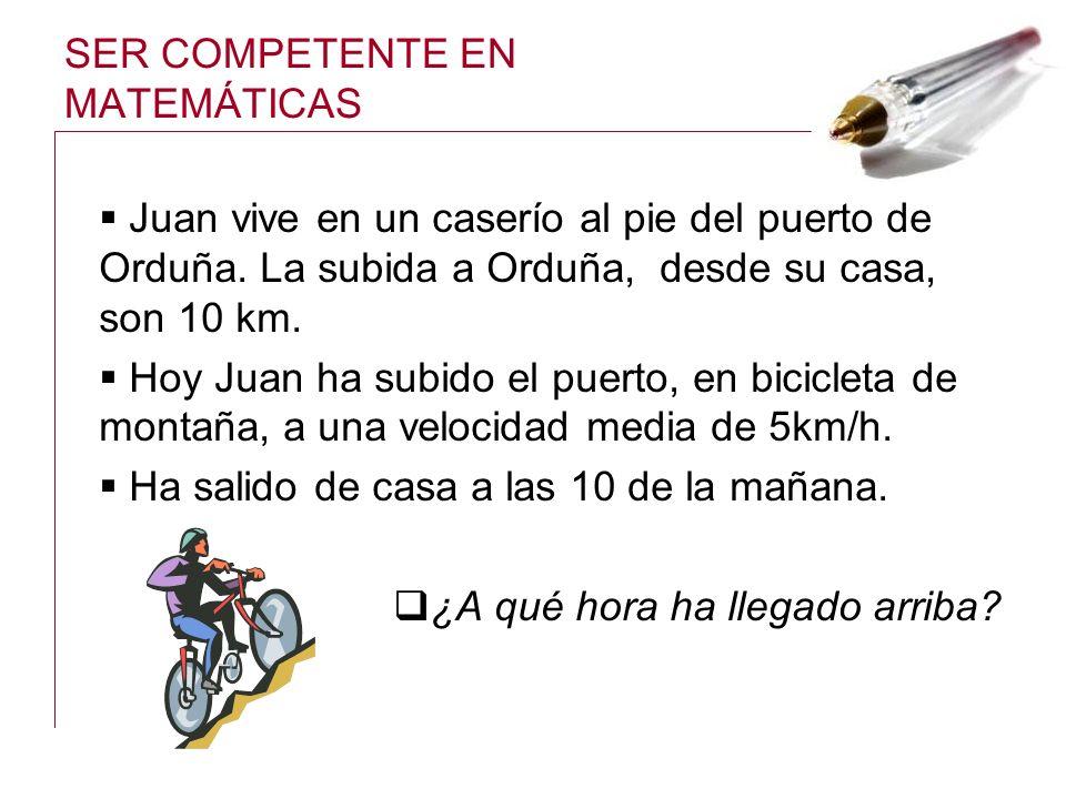 SER COMPETENTE EN MATEMÁTICAS Juan vive en un caserío al pie del puerto de Orduña. La subida a Orduña, desde su casa, son 10 km. Hoy Juan ha subido el