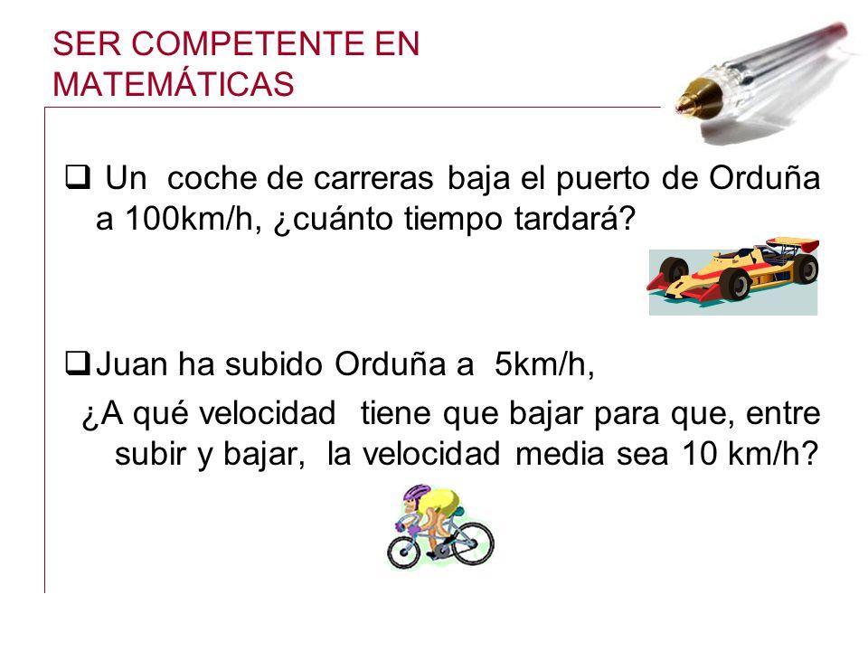 SER COMPETENTE EN MATEMÁTICAS Un coche de carreras baja el puerto de Orduña a 100km/h, ¿cuánto tiempo tardará? Juan ha subido Orduña a 5km/h, ¿A qué v