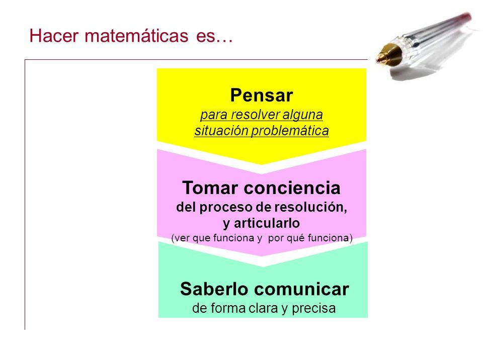 Hacer matemáticas es… Pensar para resolver alguna situaci ón problemática Saberlo comunicar de forma clara y precisa Tomar conciencia del proceso de r