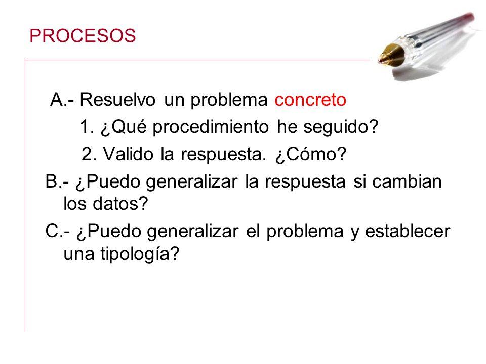 PROCESOS A.- Resuelvo un problema concreto 1. ¿Qué procedimiento he seguido? 2. Valido la respuesta. ¿Cómo? B.- ¿Puedo generalizar la respuesta si cam