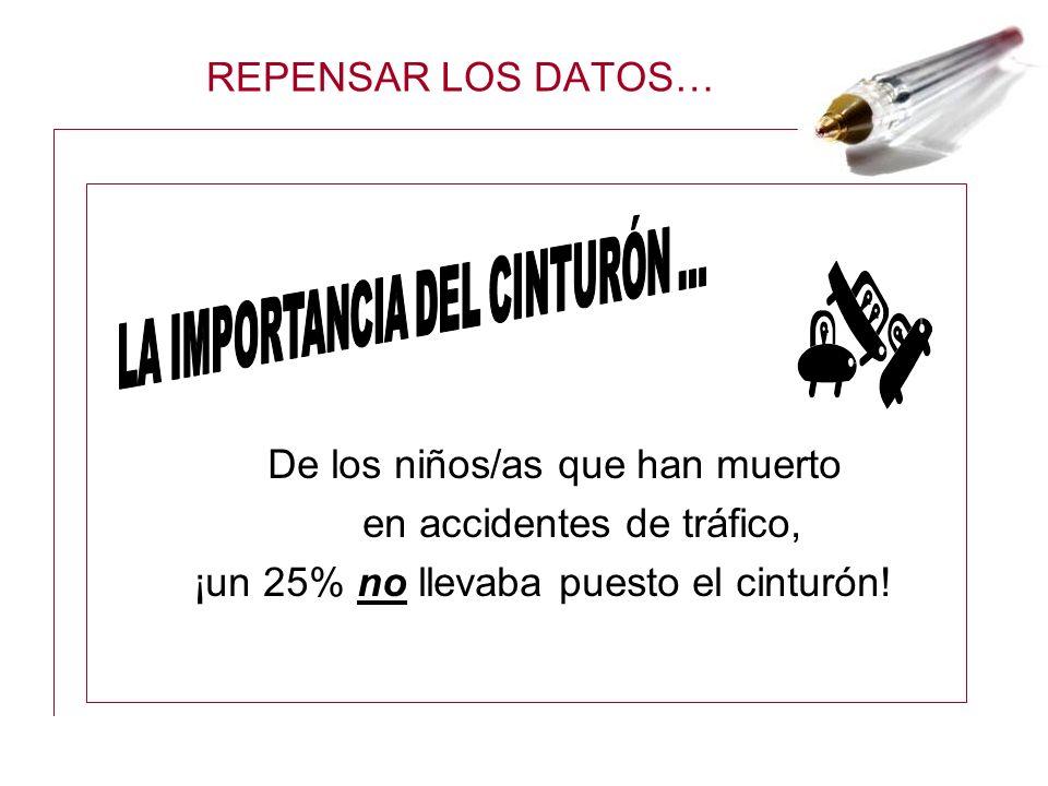 REPENSAR LOS DATOS… De los niños/as que han muerto en accidentes de tráfico, ¡un 25% no llevaba puesto el cinturón!