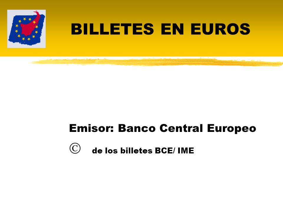 Denominaciones de los billetes 5, 10, 20, 50, 100, 200 y 500 euros.