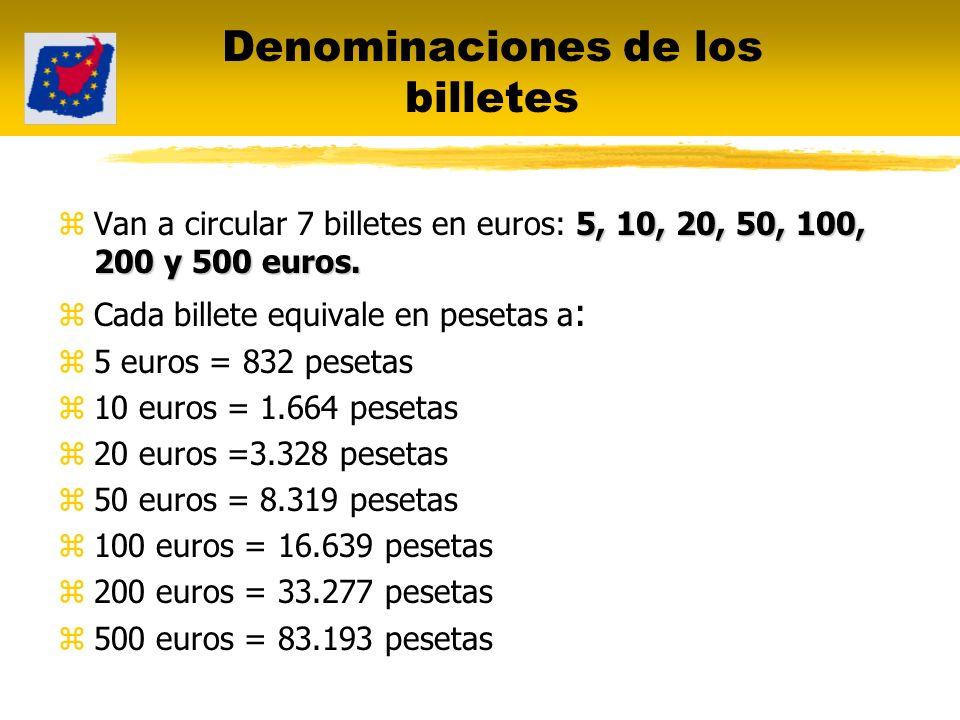 Denominaciones de los billetes 5, 10, 20, 50, 100, 200 y 500 euros. zVan a circular 7 billetes en euros: 5, 10, 20, 50, 100, 200 y 500 euros. zCada bi
