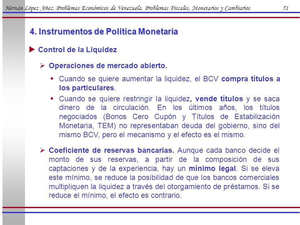 Hernán López Añez. Problemas Económicos de Venezuela. Problemas Fiscales, Monetarios y Cambiarios 51 4. Instrumentos de Política Monetaria Control de