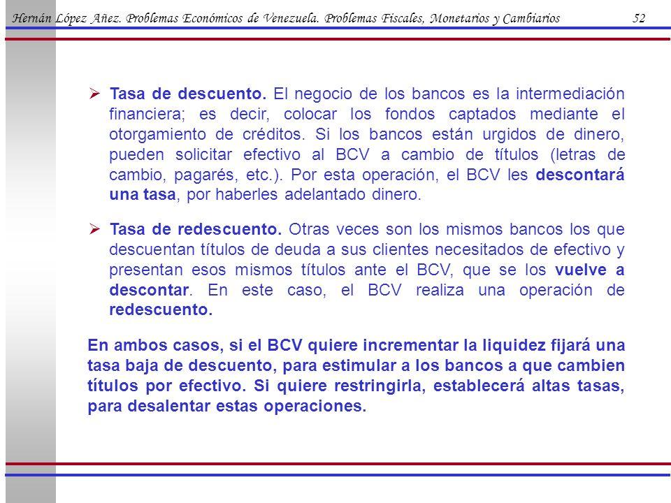 Hernán López Añez. Problemas Económicos de Venezuela. Problemas Fiscales, Monetarios y Cambiarios 52 Tasa de descuento. El negocio de los bancos es la
