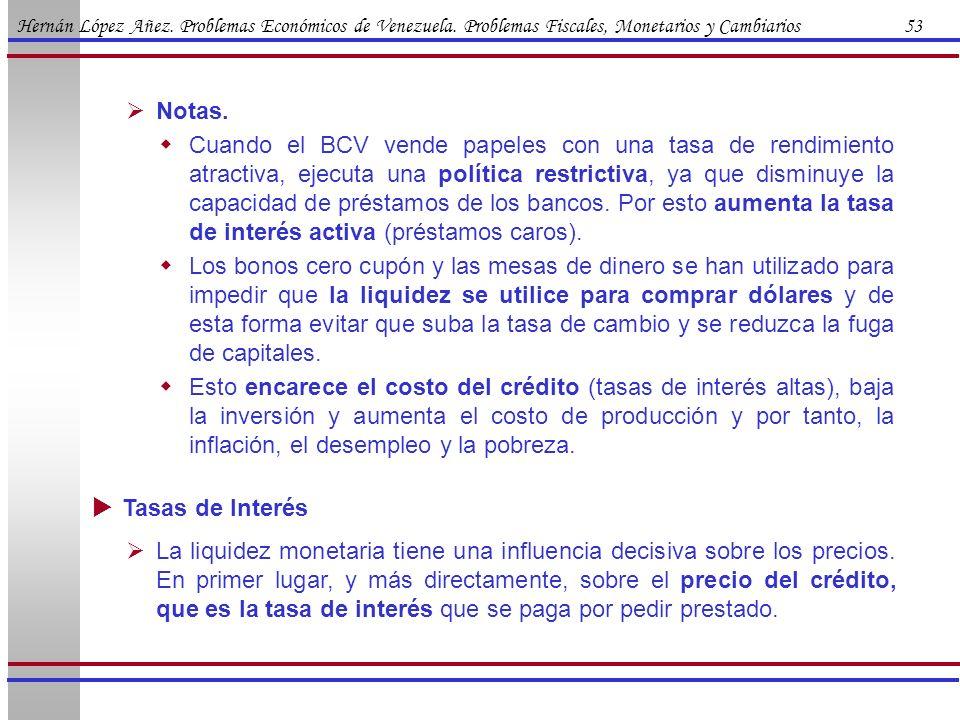 Hernán López Añez. Problemas Económicos de Venezuela. Problemas Fiscales, Monetarios y Cambiarios 53 Notas. Cuando el BCV vende papeles con una tasa d