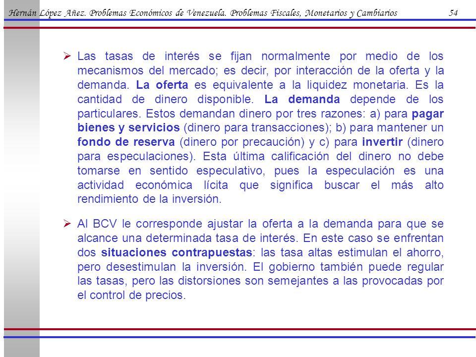 Hernán López Añez. Problemas Económicos de Venezuela. Problemas Fiscales, Monetarios y Cambiarios 54 Las tasas de interés se fijan normalmente por med