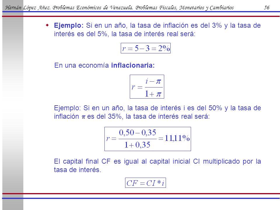 Hernán López Añez. Problemas Económicos de Venezuela. Problemas Fiscales, Monetarios y Cambiarios 56 Ejemplo: Si en un año, la tasa de inflación es de