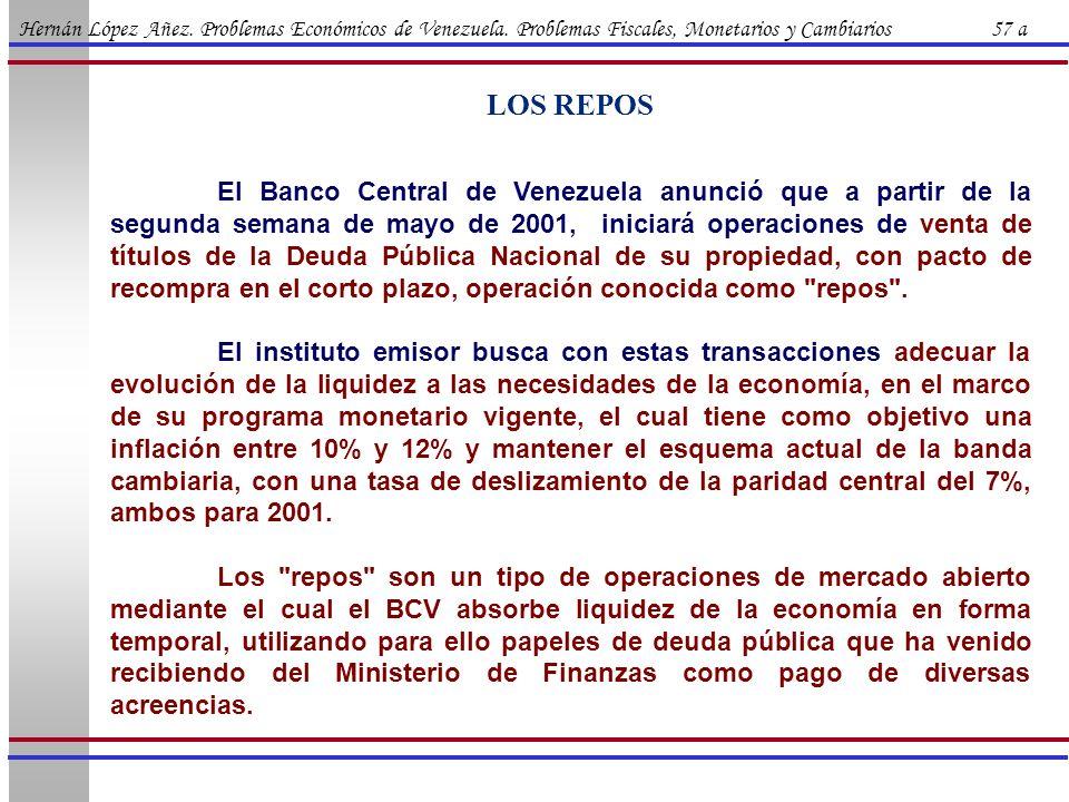 Hernán López Añez. Problemas Económicos de Venezuela. Problemas Fiscales, Monetarios y Cambiarios 57 a LOS REPOS El Banco Central de Venezuela anunció