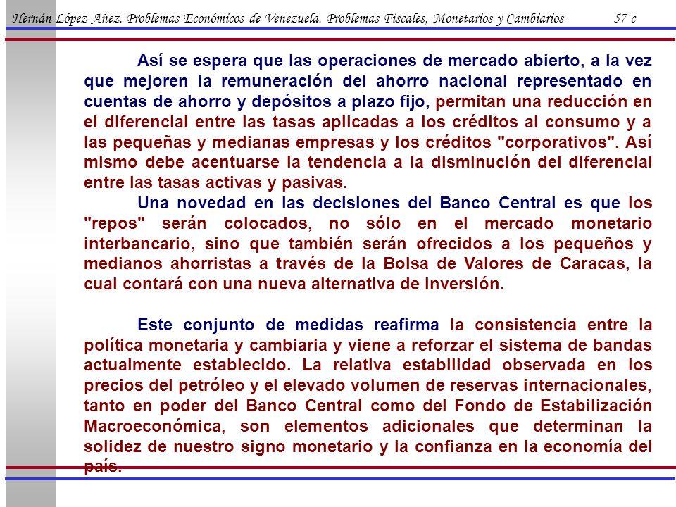 Hernán López Añez. Problemas Económicos de Venezuela. Problemas Fiscales, Monetarios y Cambiarios 57 c Así se espera que las operaciones de mercado ab