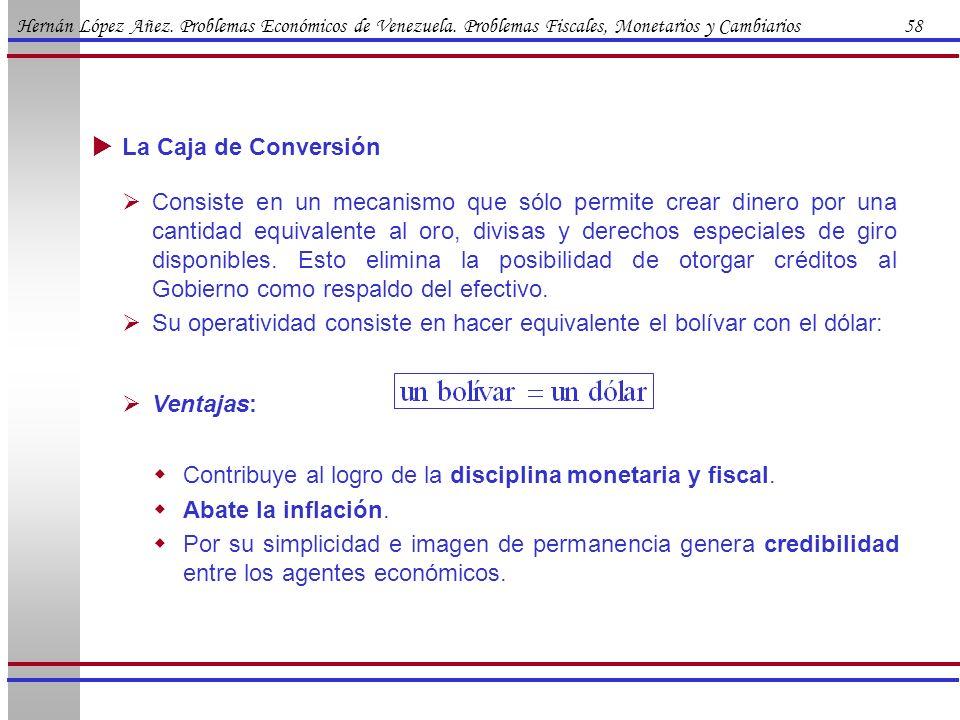 Hernán López Añez. Problemas Económicos de Venezuela. Problemas Fiscales, Monetarios y Cambiarios 58 La Caja de Conversión Consiste en un mecanismo qu