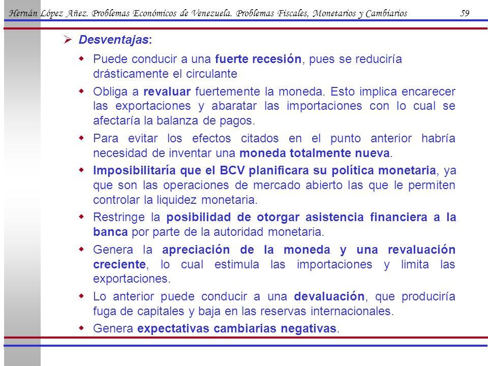 Hernán López Añez. Problemas Económicos de Venezuela. Problemas Fiscales, Monetarios y Cambiarios 59 Puede conducir a una fuerte recesión, pues se red