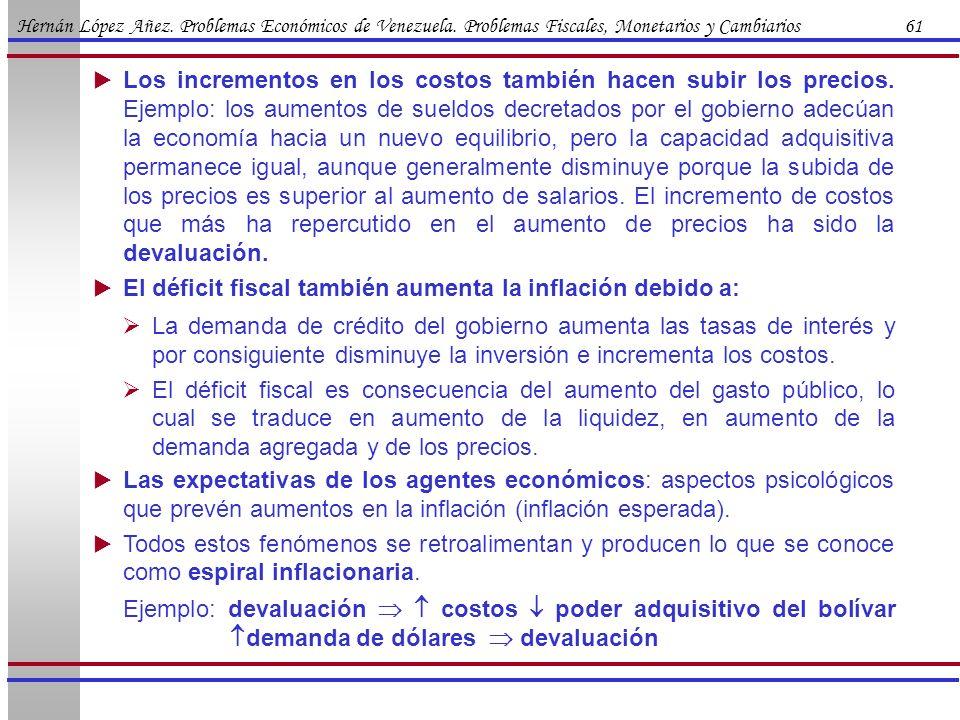 Hernán López Añez. Problemas Económicos de Venezuela. Problemas Fiscales, Monetarios y Cambiarios 61 Los incrementos en los costos también hacen subir