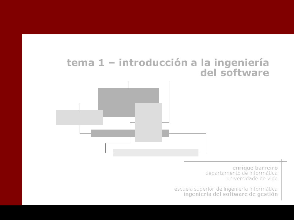 tema 1 – introducción a la ingeniería del software enrique barreiro departamento de informática universidade de vigo escuela superior de ingeniería informática ingeniería del software de gestión