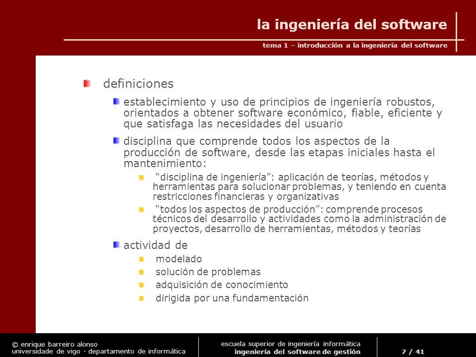 © enrique barreiro alonso universidade de vigo - departamento de informática tema 1 – introducción a la ingeniería del software 28 / 41 escuela superior de ingeniería informática ingeniería del software de gestión el proceso de desarrollo