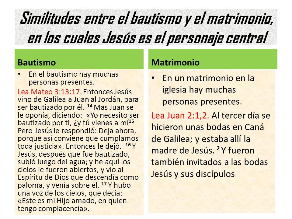 Similitudes entre el bautismo y el matrimonio, en los cuales Jesús es el personaje central Bautismo En el bautismo hay muchas personas presentes. Lea
